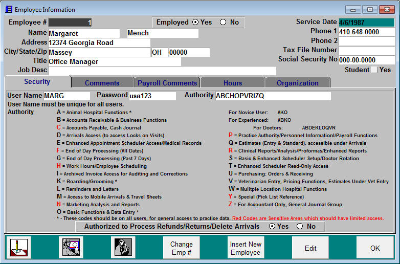 Employee Setup with Security Levels
